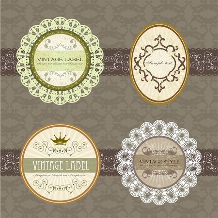 vintage classic label with floral border set