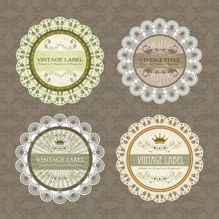 floral classic vintage label design set