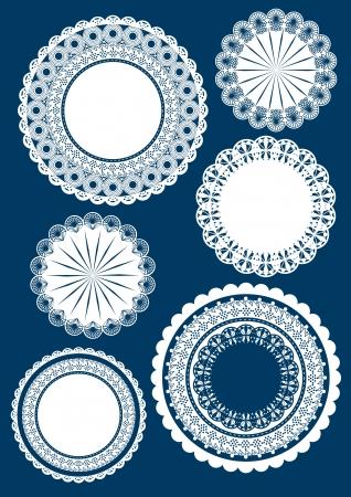 lace frame border and pattern design set - elements
