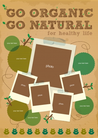 healthy life: go organic go natural poster with photo element Illustration