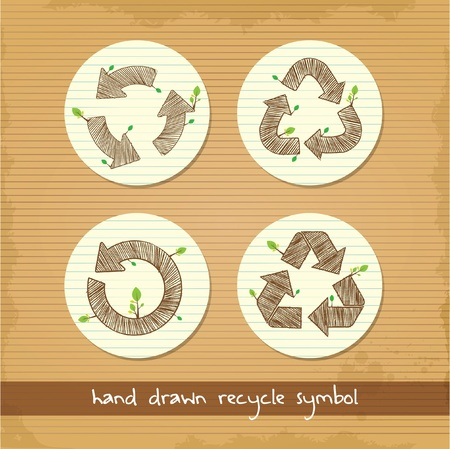 set of hand drawn recycle symbol Vector