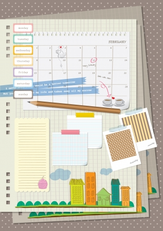 old diary: scrapbook element - my diary Illustration