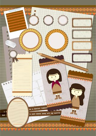 bohemian scrapbook element set Vector