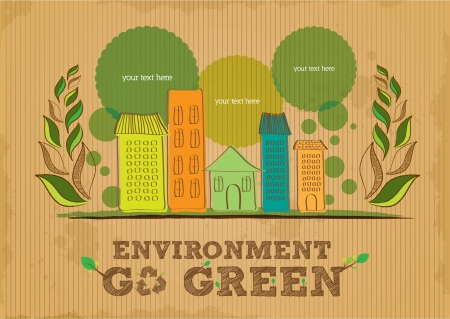 environmental awareness: environment go green poster Illustration