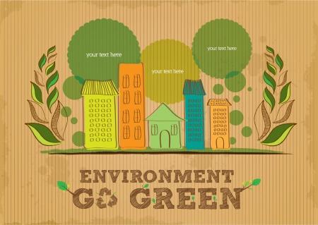 conciencia ambiental: medio ambiente van de cartel verde