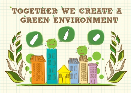 eco building: go green campaign poster Illustration