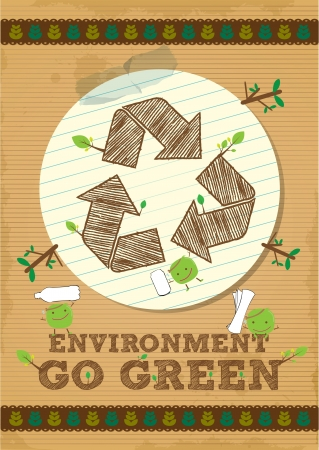 environmental awareness: recycle symbol poster with photo and paper element Illustration