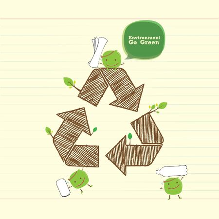recycle area: recycle bean with recycle symbol