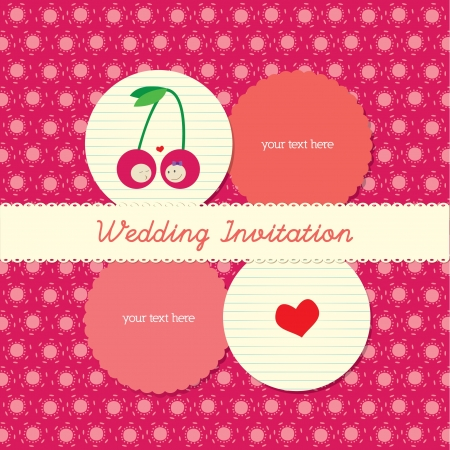 lovely wedding invitation card with polka background Vector