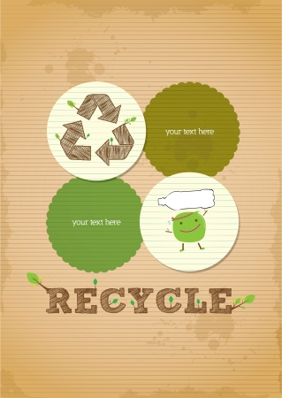 environmental awareness: hand draw simple and clean recycling poster