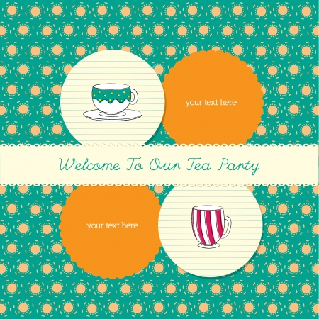 cute tea party invitation card Illustration