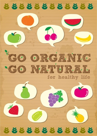 hand drawn organic campaign promotion poster design with fruits element Illustration