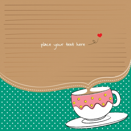note paper with cup and polka background for tea party Illustration