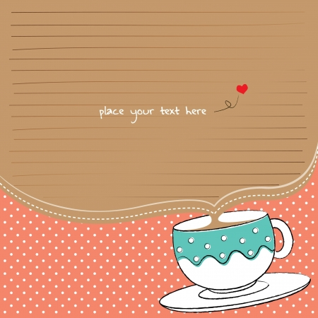 gatherings: note paper with cup and polka background for tea party Illustration