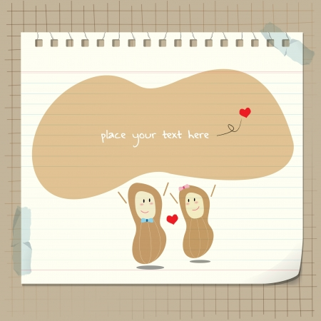 peanut man in love for valentine day card Vector