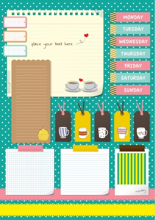 coffee cup scrapbook elements with note paper