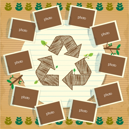 recycle symbol poster with photo and paper element Vector