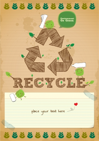 hand drawn recycling campaign promotion poster design Vector