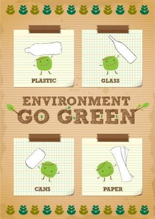 conciencia ambiental: entorno dibujado a mano ir verde campa�a de promoci�n de dise�o de carteles