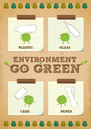 go green: hand drawn environment go green campaign promotion poster design Illustration