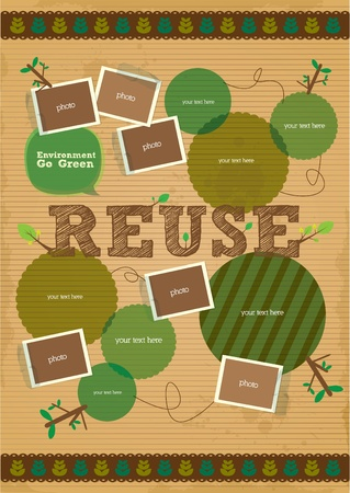 environmental awareness: reuse campaign poster with paper and photo element