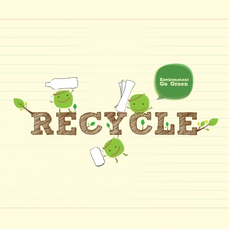 recycle bean with handwritten word and leaf