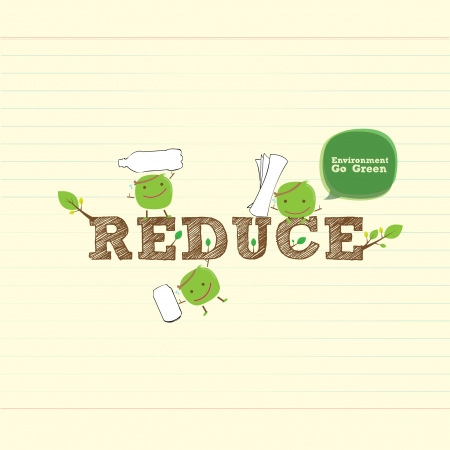reduce bean with handwritten word and leaf Vector