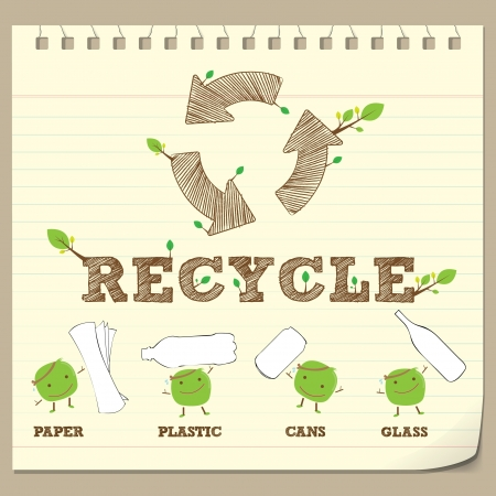 recycle area: hand drawing recycle symbol with recycle bean on note paper