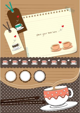 instant coffee: coffee cup scrapbook elements Illustration