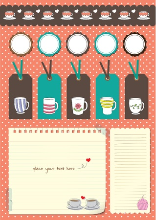 coffee cup scrapbook elements Vector