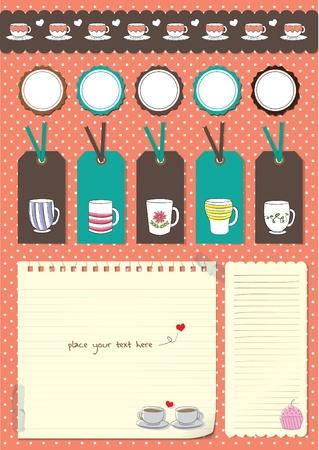 coffee cup scrapbook elements Illustration