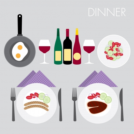dinner set elements for valentine day Illustration