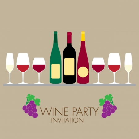wine party invitation with simple graphic style