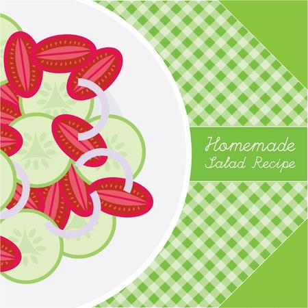 homemade salad green menu and recipe Vector