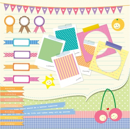 scrapbook element: Meine bunte Scrapbook-Element f�r den kostbaren Moment