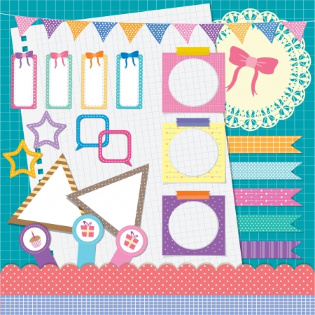 my photo scrapbook elements set - colorful fantasy Illustration