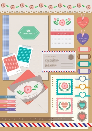 romantic love letter scrapbook elements set - valentine gift