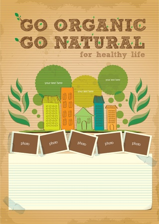 hand drawn go green campaign promotion poster design Vector