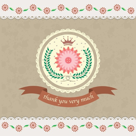 floral thank you card design Illustration