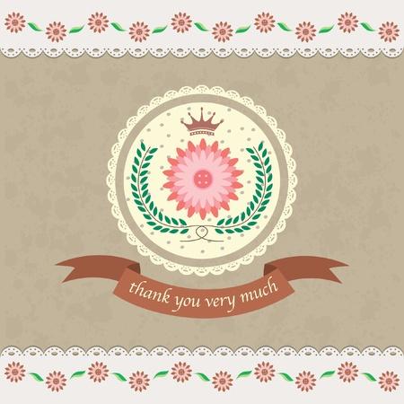 floral thank you card design Illustration