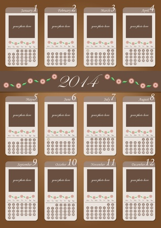 2014 floral calendar design template