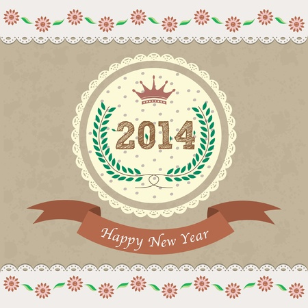 2014 new year greeting card Stock Vector - 19638901