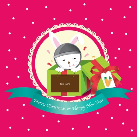 rabbit in box christmas and new year greeting card Illustration