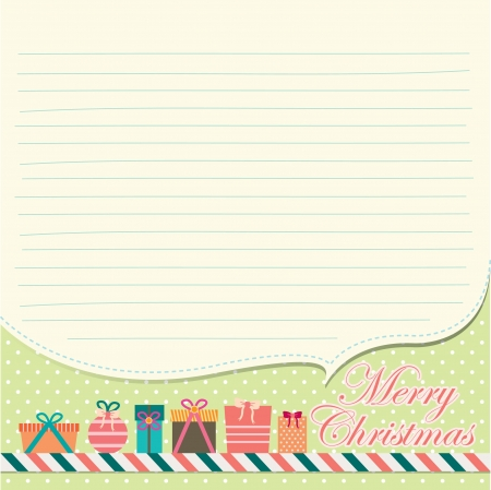 christmas greeting card and writing paper Vector