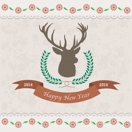 deer christmas gift card Illustration