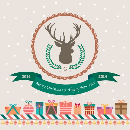 deer christmas gift card with gifts Vector