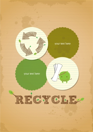 biodegradable: hand draw simple and clean recycling poster