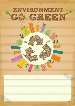 hand draw simple and clean recycling poster