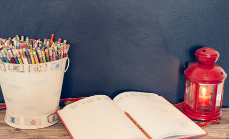 instruction sheet: bucket of pencils, notebook and lamp