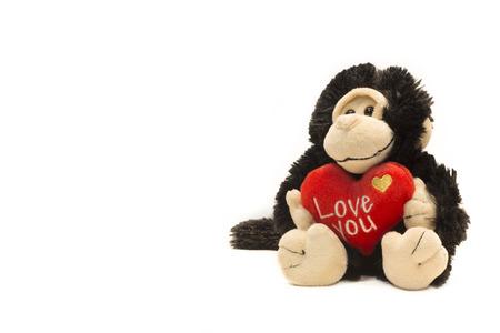 plushy: Monkey plushy toy with I Love U sign Stock Photo